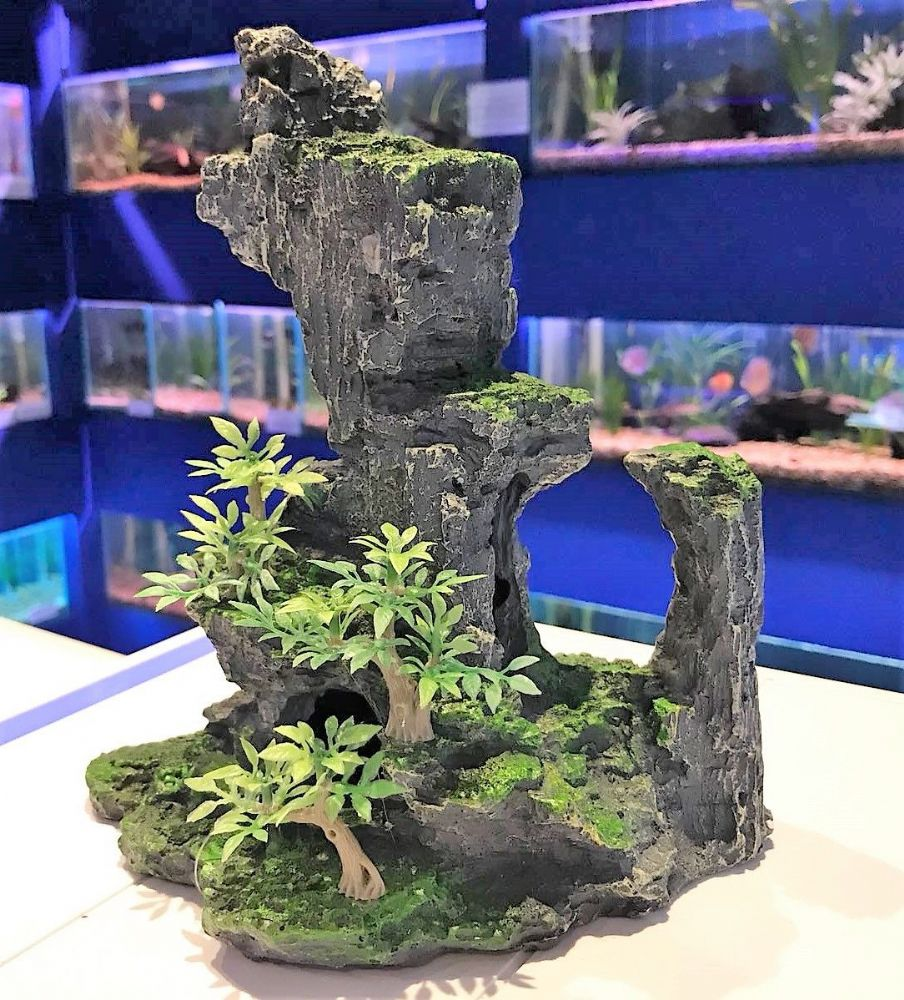 Bonsai Grey Rock Formation With Plant Aquarium Ornament